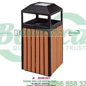 Thùng rác gỗ đặt trong công viên HW-04