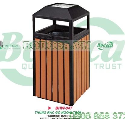 Thùng rác vuông bằng gỗ có gạt tàn BHW-04T