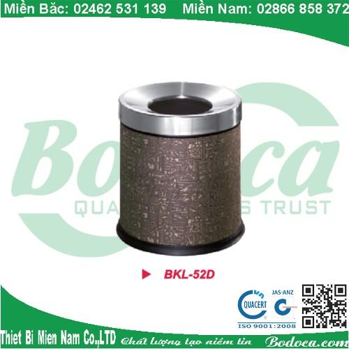 Thùng rác inox nâu có hoa văn BKL-52D