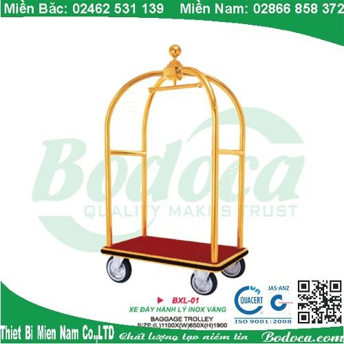 Xe đẩy hành lý mạ vàng cap cấp D11