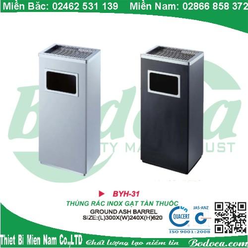 Thùng rác inox có gạt tàn thuốc lá YH-31