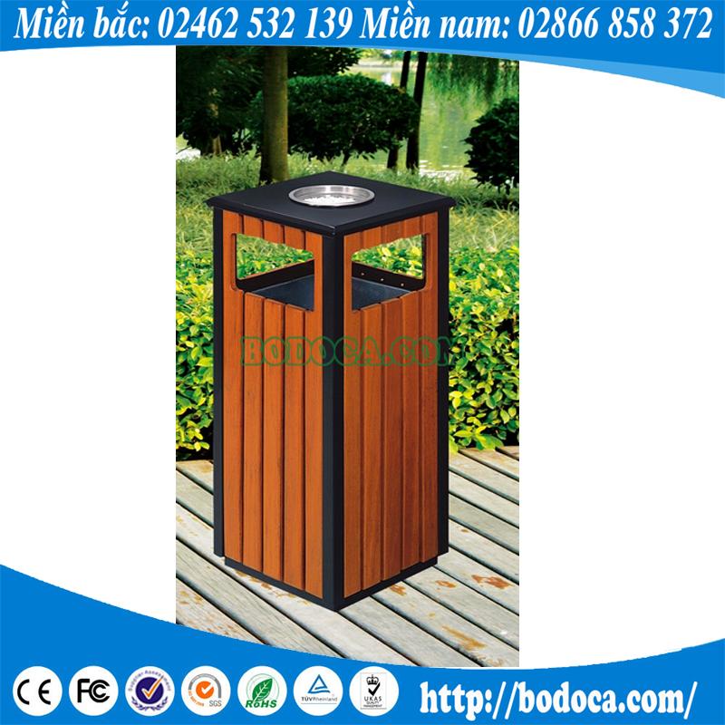 Chuyên phân phối thùng rác gỗ vuông ngoài trời BHW-36