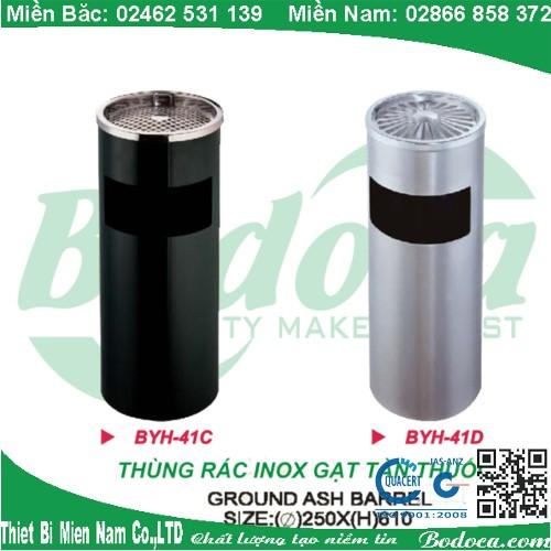 Thùng rác inox gạt tàn thuốc lá cao cấp YH-41