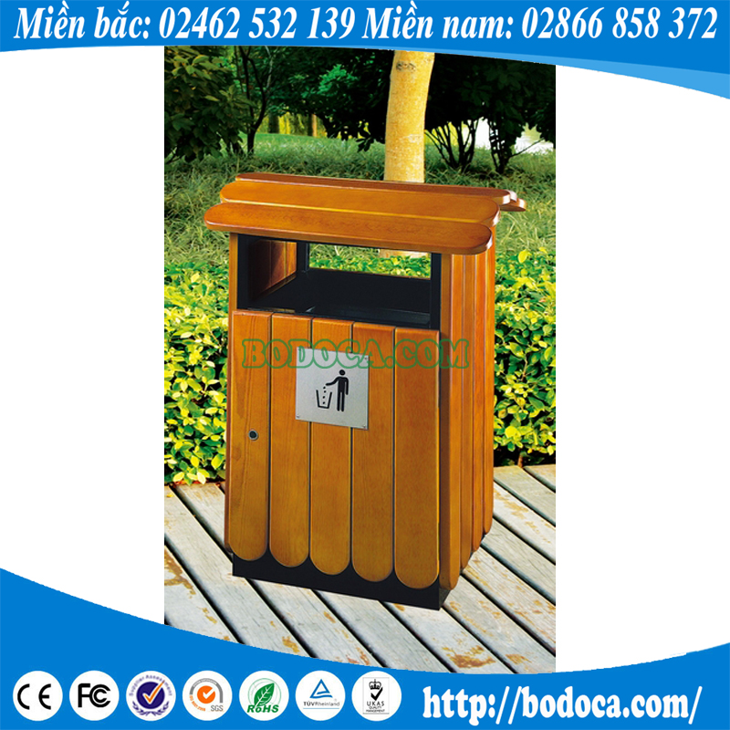 Thùng rác gỗ ngoài trời HW-76