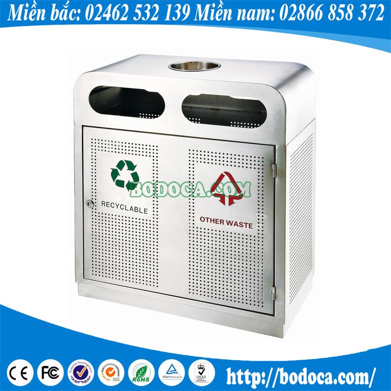Thùng rác inox 2 ngăn có gạt tàn GPX-98