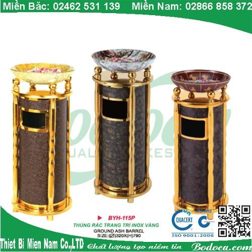 Thùng rác tròn inox mạ vàng BYH-115P