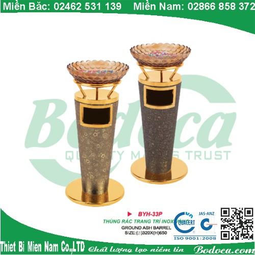 Thùng rác inox mạ vàng bọc da nhập khẩu BYH-33P