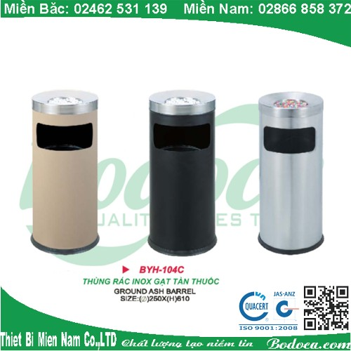 Thùng rác inox gạt tàn BYH-104C