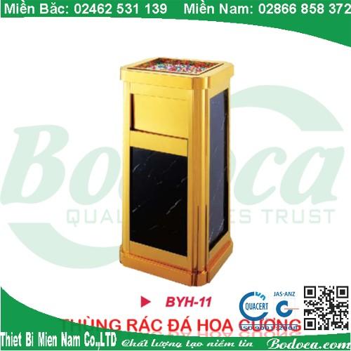 Thùng rác đá hoa cương mạ vàng đặt sảnh BYH-11