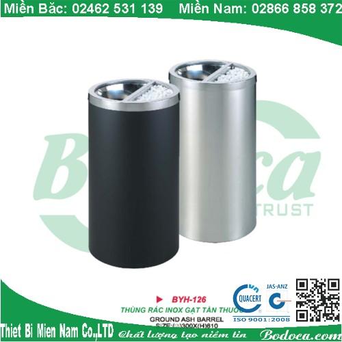 Thùng rác inox gạt tàn BYH-126A