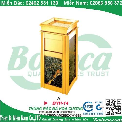Thùng rác inox mạ vàng đá hoa cương BYH-14A