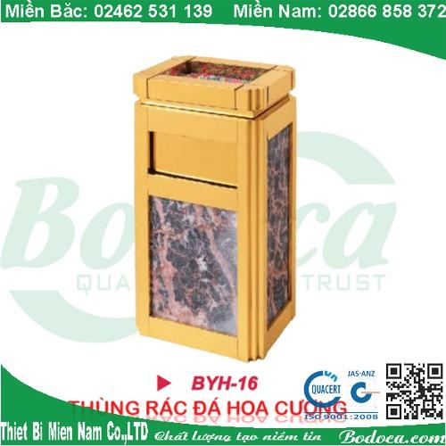 Thùng rác đá inox mạ vàng hoa cương BYH-16