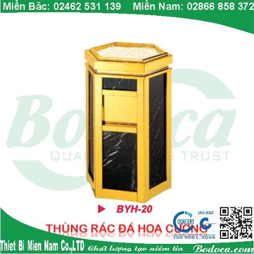 Thùng rác inox mạ vàng đá hoa cương BYH-20