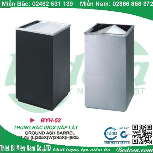 Thùng rác inox gạt tàn thuốc lá BYH-52