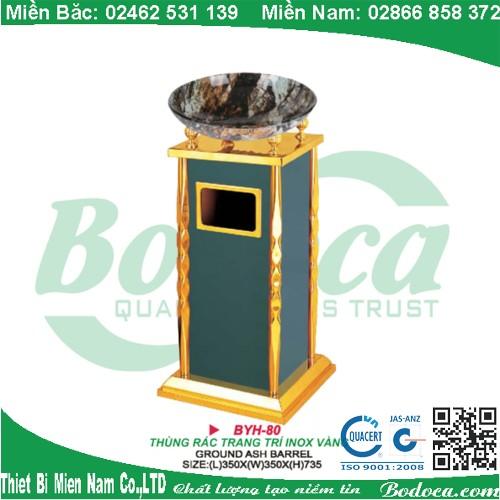 Thùng rác đá inox mạ vàng hoa cương BYH-80P