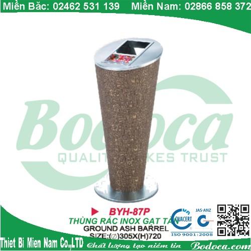 Thùng rác inox gạt tàn thuốc lá BYH-87P