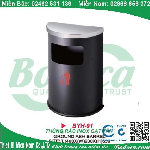 Thùng rác bán nguyệt thép phun sơn tĩnh điện BYH-91B