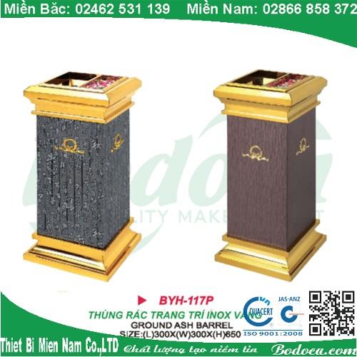 Thùng rác inox mạ vàng BYH-117P
