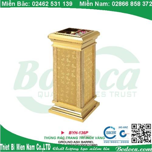Thùng rác inox mạ vàng giá rẻ BYH-136P