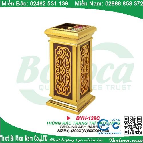 Thùng rác inox mạ vàng sang trọng BYH-139C