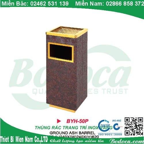 Thùng rác inox giả gỗ sang trọng BYH-50P