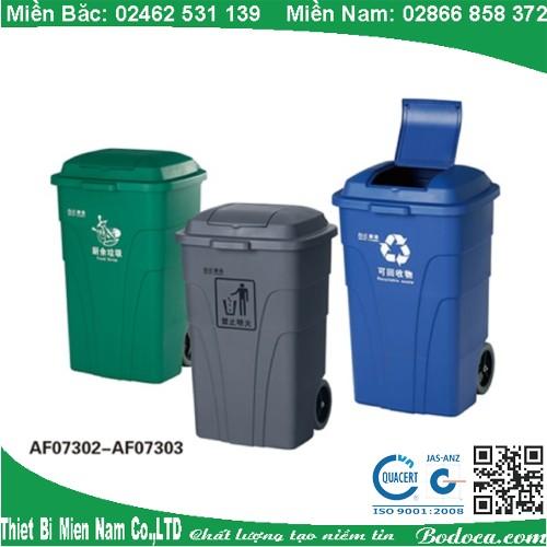 Thùng rác nhựa 120 lít xả rác kín bên trên