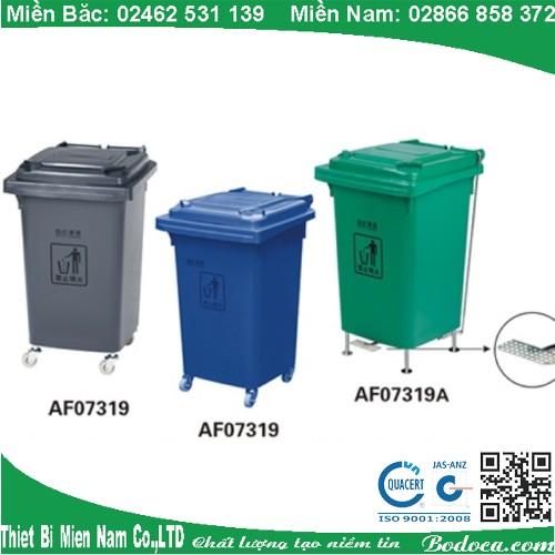 Thùng rác nhựa nắp đậy 60 lít AF07319