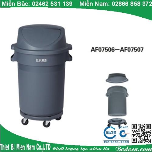 Thùng rác nhựa nắp đẩy có bánh xe AF07507