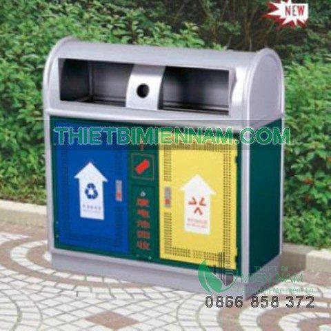 Thùng rác 2 ngăn đặt sảnh siêu thị