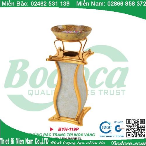 Thùng rác inox mạ vàng trang trí BYH-119