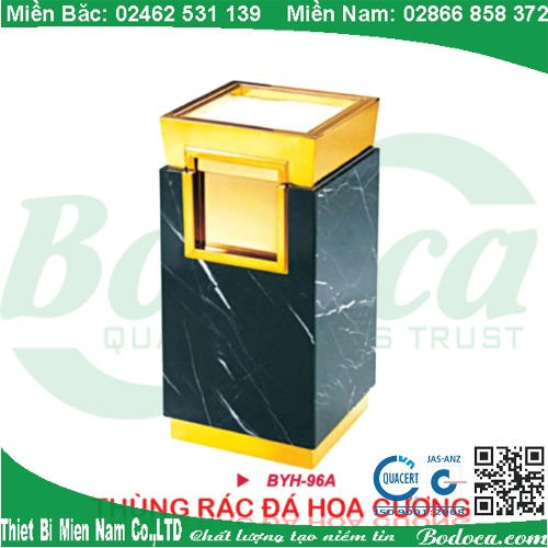 Thùng rác inox mạ vàng đá hoa cương BYH-96A