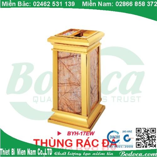 Thùng rác inox mạ vàng đá hoa cương BYH-17W