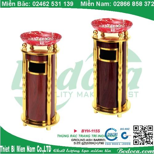 Thùng rác trang trí inox mạ vàng giả vân gỗ BYH-115S