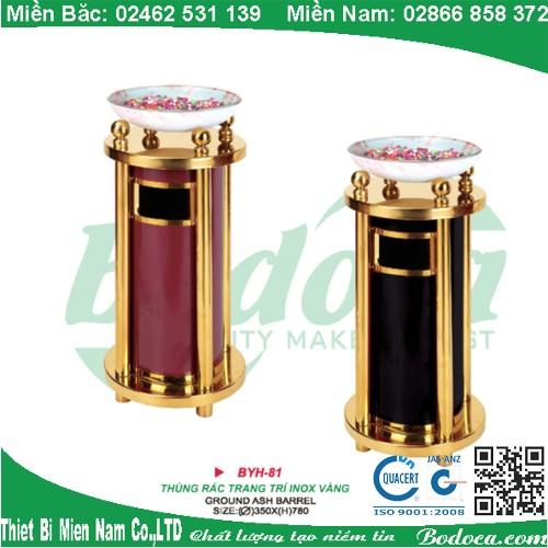 Thùng rác inox mạ vàng có khay BYH-81