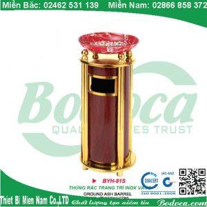 Thùng rác inox mạ vàng có khay thủy tinh BYH-81S