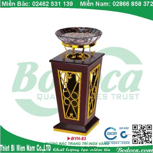 Thùng rác trang trí inox vàng gỗ đẹp BYH-83