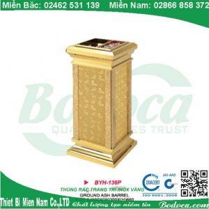 Thùng rác inox mạ vàng đá hoa cương BYH-137