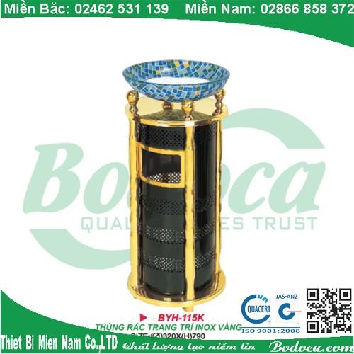 Thùng rác inox có gạt tàn sơn tĩnh điện BYH-115K